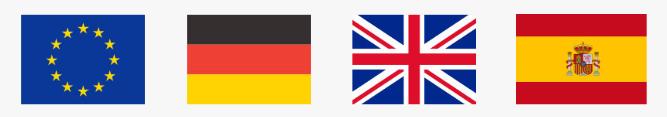 montage de drapeaux de l'euro de l'Allemagne de l'Angleterre et de l'Espagne